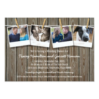 Rustic Clothesline Photo  Wedding Shower Card