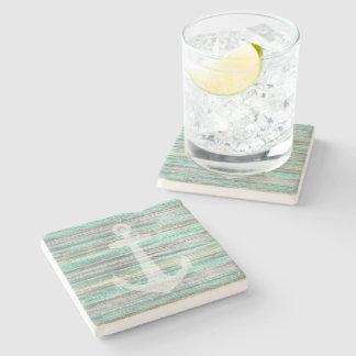 Rustic Coastal Decor Anchor Stone Beverage Coaster