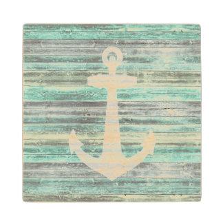 Rustic Coastal Decor Anchor Wood Coaster