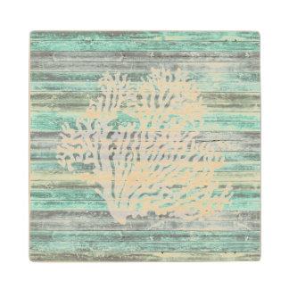 Rustic Coastal Decor Coral Maple Wood Coaster