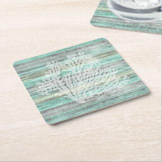 Rustic Coastal Decor Coral Square Paper Coaster
