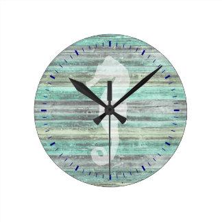 Rustic Coastal Decor Seahorse Round Clock