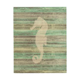 Rustic Coastal Decor Seahorse Wood Prints