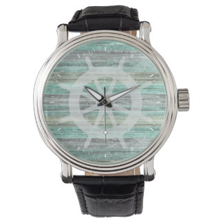 Rustic Coastal Ship Helm Wristwatch