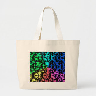 Rustic Colorful Pattern and shapes Large Tote Bag