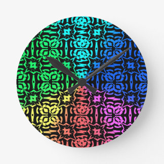 Rustic Colorful Pattern and shapes Round Clock