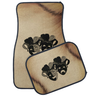 Rustic Comedy and Tragedy Theater Masks Jester Car Mat
