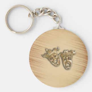 Rustic Comedy and Tragedy Theater Masks Key Ring