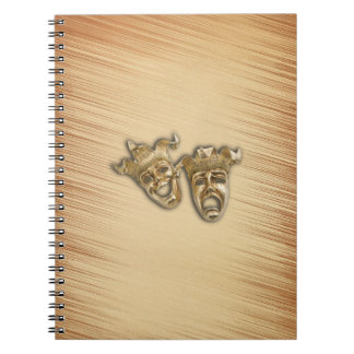 Rustic Comedy and Tragedy Theater Masks Spiral Note Books