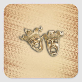 Rustic Comedy and Tragedy Theater Masks Square Sticker