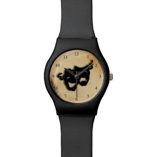 Rustic Comedy and Tragedy Theater Masks Wrist Watch