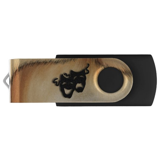 Rustic Comedy and Tragedy Theatre Masks USB Flash Drive