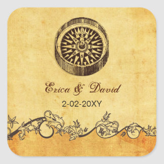 rustic compass nautical wedding  envelopes seals square sticker
