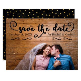 Rustic Confetti Black Photo - Save the Date Card