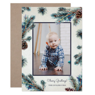 Rustic Conifer Photo Holiday Card