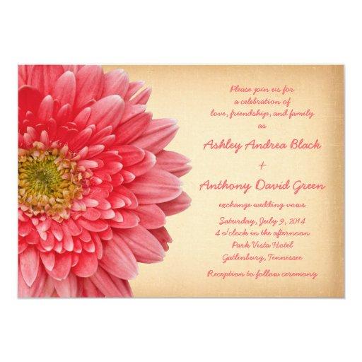 Gerbera Wedding Invitations: Rustic Coral Gerbera Daisy Wedding Invitation