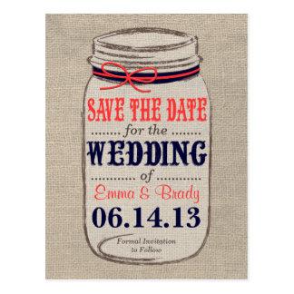 Rustic Coral & Navy Mason Jar Save the Date Postcard