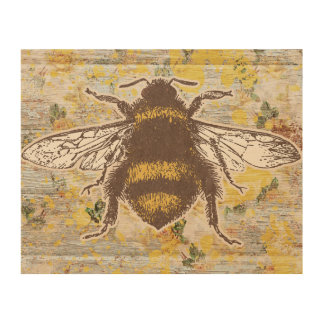 Rustic Cottage Worker Bee Wood Art