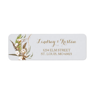 Rustic Cotton Floral Feather Bridal Shower Return Address Label