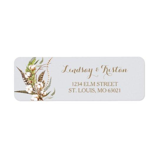 Rustic Cotton Floral Feather Bridal Shower Return Address Label
