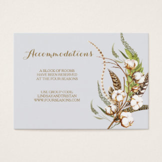 Rustic Cotton Floral Wedding Accommodation Card
