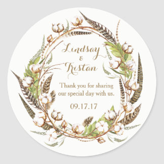 Rustic Cotton Floral Wedding Classic Round Sticker