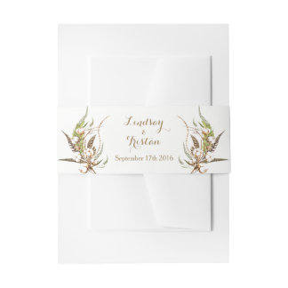 Rustic Cotton Floral Wedding Invitation Belly Band