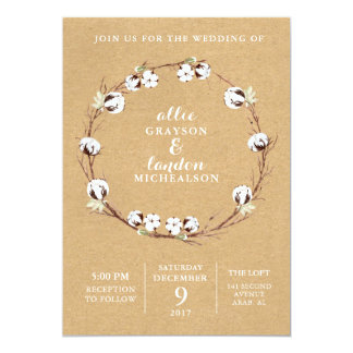 Rustic Cotton Wreath Wedding Invitation