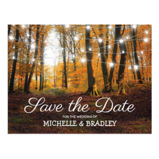 Rustic Country Autumn Fall Save the Date Postcard