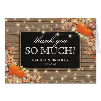 Rustic Country Autumn Fall Wedding Thank You Card
