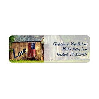 Rustic Country Barn American Flag Love Address Return Address Label