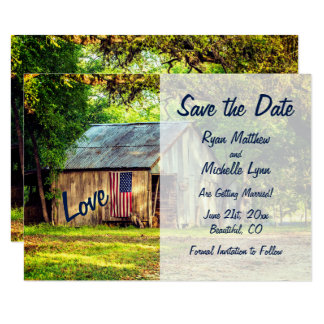 Rustic Country Barn American Flag Save the Date Card