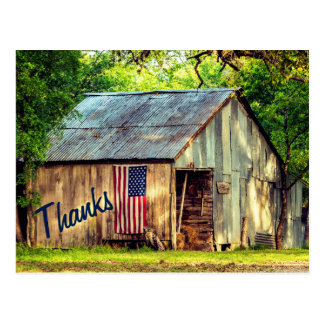 Rustic Country Barn American Flag Thanks Thank You Postcard
