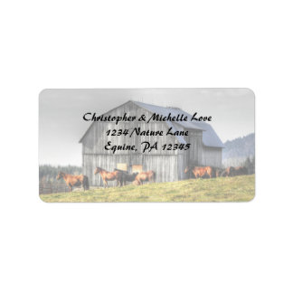Rustic Country Barn and Horses Address Address Label