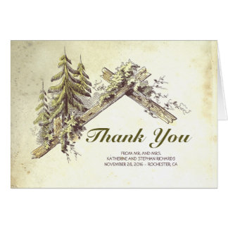 Rustic Country Barn in The Woods Thank You Card