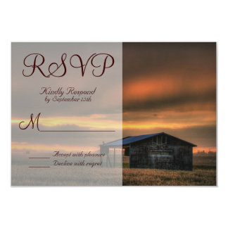 Rustic Country Barn Love Wedding RSVP Cards Invite