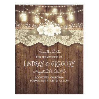 rustic country barn wedding save the date postcard