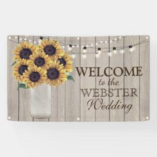 Rustic Country Barn Wedding Sunflower Mason Jar Banner