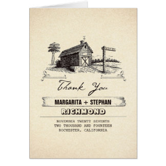 Rustic country barn wedding thank you cards