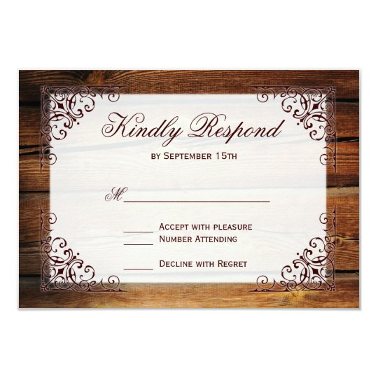 Rustic Country Barn Wood Frame Wedding RSVP Cards