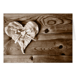 Rustic Country Barn Wood Heart Greeting Card