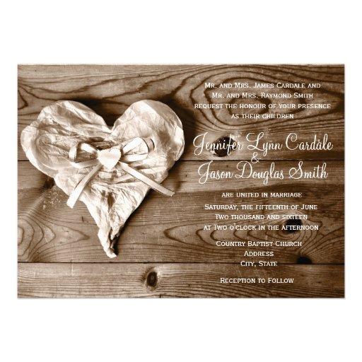 Rustic Country Barn Wood Heart Wedding Invitation