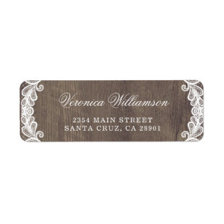 Rustic Country Barn Wood & Lace Wedding Return Address Label
