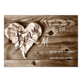 Rustic Country Barn Wood Love Heart Wedding RSVP Card