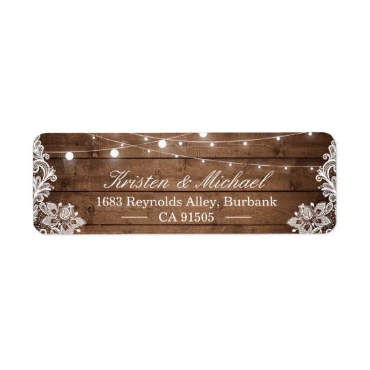 Rustic Country Barn Wood String Lights Lace Return Address Label