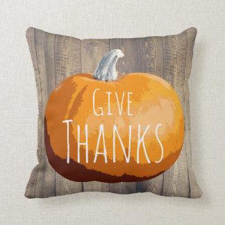 Rustic Country Barn Wood Thanksgiving Pumpkin Cushion