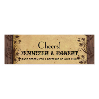 Rustic Country Barn Wood Wedding Drink Tickets Business Card Template