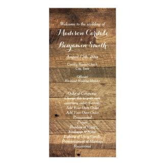 Rustic Country Barn Wood Wedding Program Template Rack Card Template