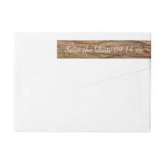 Rustic Country Barn Wood Wedding Save the Date Wrap Around Label