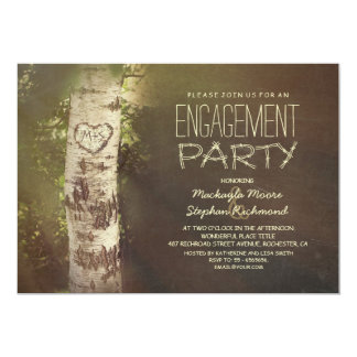 Rustic country birch tree engagement party card